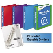 "Mead D-Ring View Binders Plus Pack, 1"" Cap, 250 Sheets, Assorted Colors, 4pk -MEA66514AU"