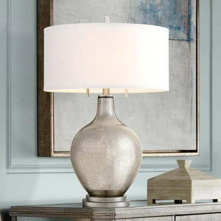 Possini Euro Design Modern Table Lamp Silver Mercury Glass White Drum Shade for Living Room Family Bedroom Bedside Nightstand