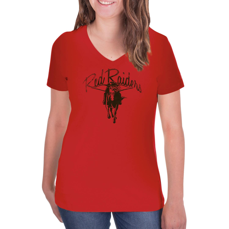 NCAA Texas Tech Red Raiders Women's V-Neck Tunic Cotton Tee Shirt