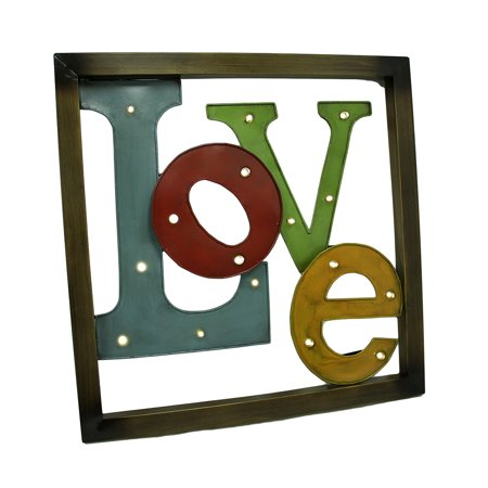 Colorful LED lighted Metal Framed LOVE Wall Sculpture ()