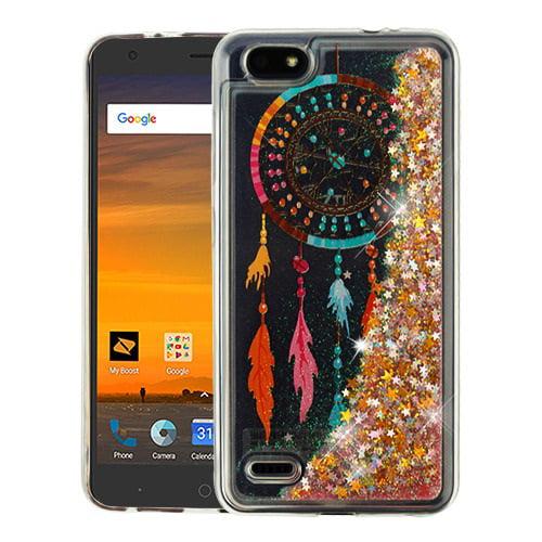 For ZTE Avid 557 / ZTE Tempo Go Case Hybrid Quicksand Liquid Glitter TPU Phone Cover (Dreamcatcher & Gold Quicksand (Stars) Glitter)