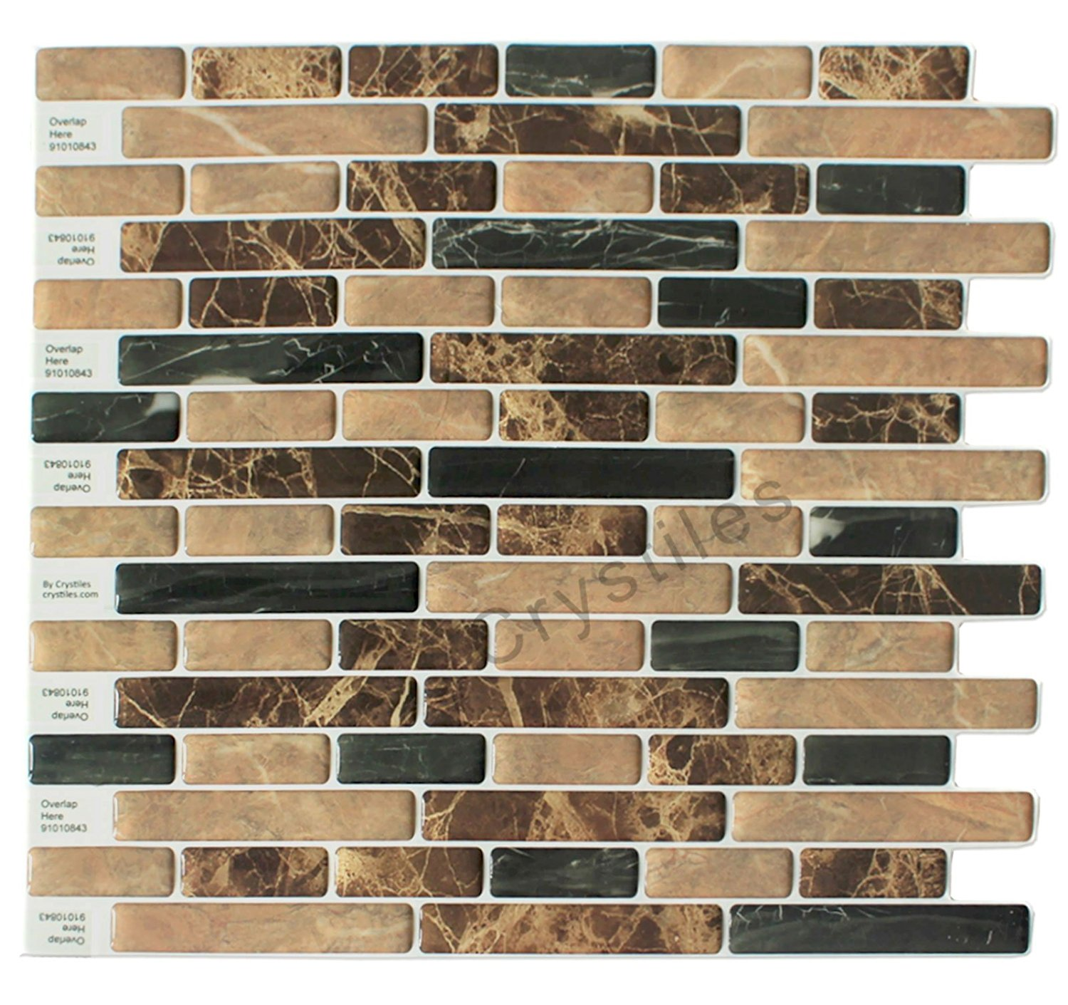 "Crystiles® Peel and Stick Self-Adhesive Stick-On Vinyl Wall Tile Backsplash, Brown and Black Marbles, Item# 91010843, 10"" X 10"" Each, 6 Sheets Pack"