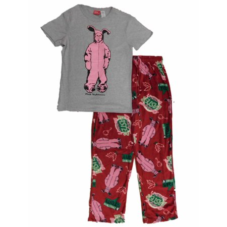 a christmas story mens pink bunny ralphie t shirt pajama bottoms sleep set - Walmart Christmas Pajamas