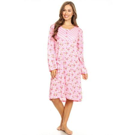 64c2e473c0 Lati Fashion - 6010 Womens Nightgown Sleepwear Pajamas Woman Long Sleeve  Sleep Dress Nightshirt Pink L - Walmart.com
