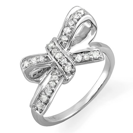 0.30 Carat (ctw) 925 Sterling Silver Round Diamond Ladies Cocktail Ribbon Knot Ring 1/3 CT