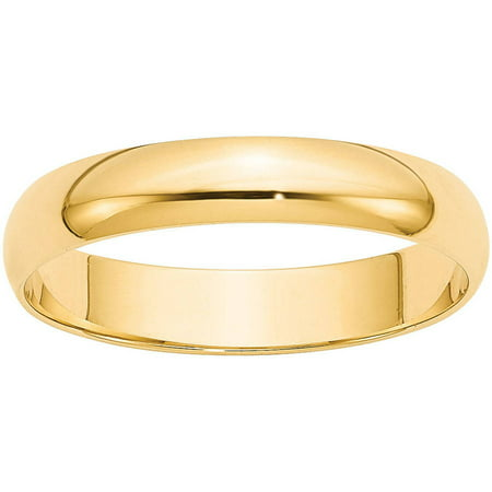 Yellow Gold Kids Ring - 10KY 4mm LTW Half Round Band Size 7