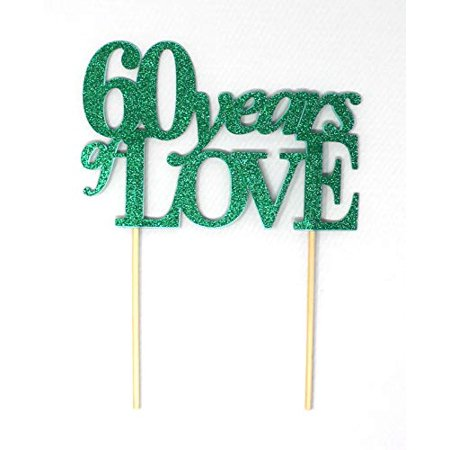 All About Details 60 Years of Love Cake Topper, 1PC, 60th year anniversary, 60th birthday (Green) - Cake Decorations For 60th Birthday