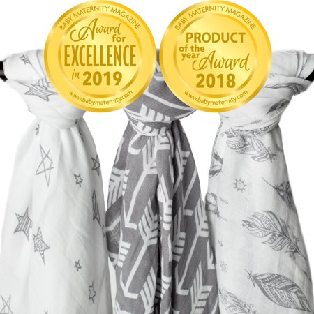 Kids N' Such Muslin Swaddle Blanket Set 'Wanderer' Large 47 x 47 inch - Super Soft Bamboo Blankets - Arrow, Feather and Stars - 3 Pack Baby Shower Gift Bundle of Swaddles for Boys and