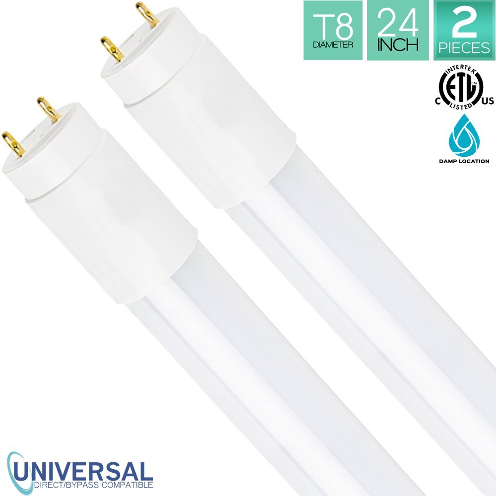 Luxrite LED 2FT Tube Light, 12W (17W Equivalent), 3000K Soft White, T8 Shape, Universal Direct or Bypass, Shatter Resistant, 1100 Lumens, 120V-277V, Damp Rated, ETL Listed, G13 Base, 50,000 Hr, 2-Pack