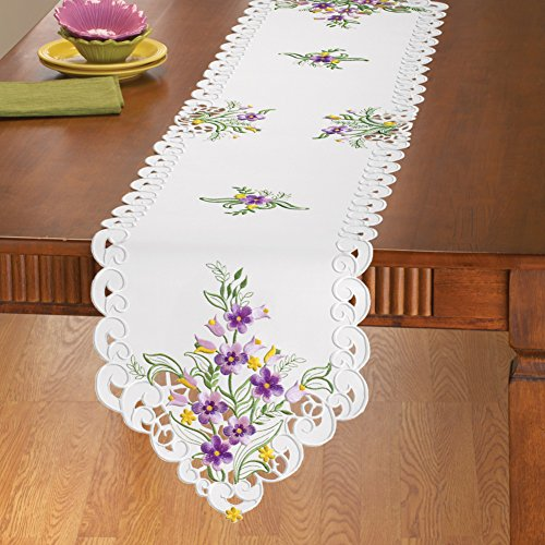 Embroidered Geraniums Table Linens Purple Runner by Collections Etc