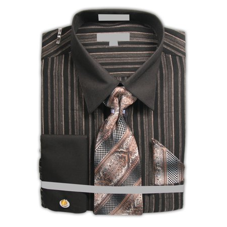 Men's Stripe Dress Shirt with Black French Cuffs and Collar and Neck Tie Hanky Cufflinks Striped Pointed Collar Dress Shirt