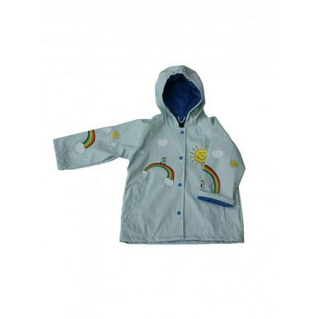Foxfire FOX-601-18-5 Girls Light-Blue Multicolor Rainbow Print Hooded Raincoat - Size 5 - image 1 of 1
