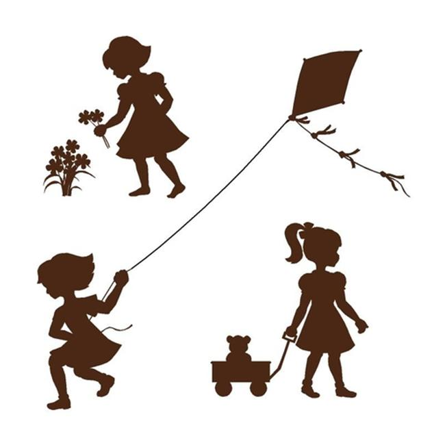 Elephants on the Wall E 5-1407 Silhouette Girls - Paint It Yourself