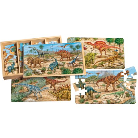 T.S. Shure Prehistoric Dinosaurs Large Puzzles in a Wooden Box, 4 Puzzles - Large Puzzle