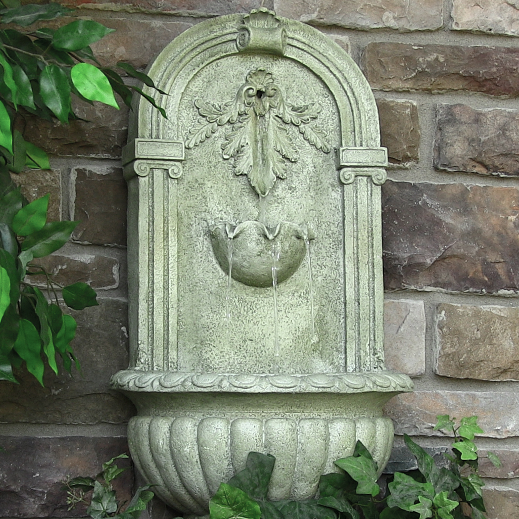 Sunnydaze Florence Outdoor Wall Fountain, French Limestone Finish, 27 Inch