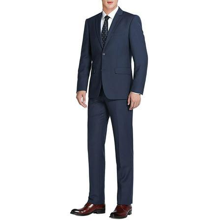 Men's 2-Piece Suit Classic Fit Two Button 100% Premium Wool Suit