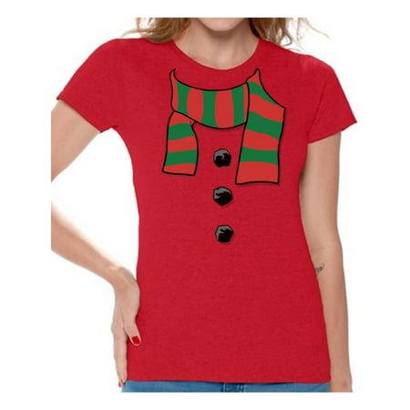 Awkward Styles Snowman Scarf Christmas Shirts for Women Christmas T-shirt Snowman Scarf Christmas Women's Holiday Top Xmas Gifts Winter Funny Tacky Party Holiday Xmas Shirt ()