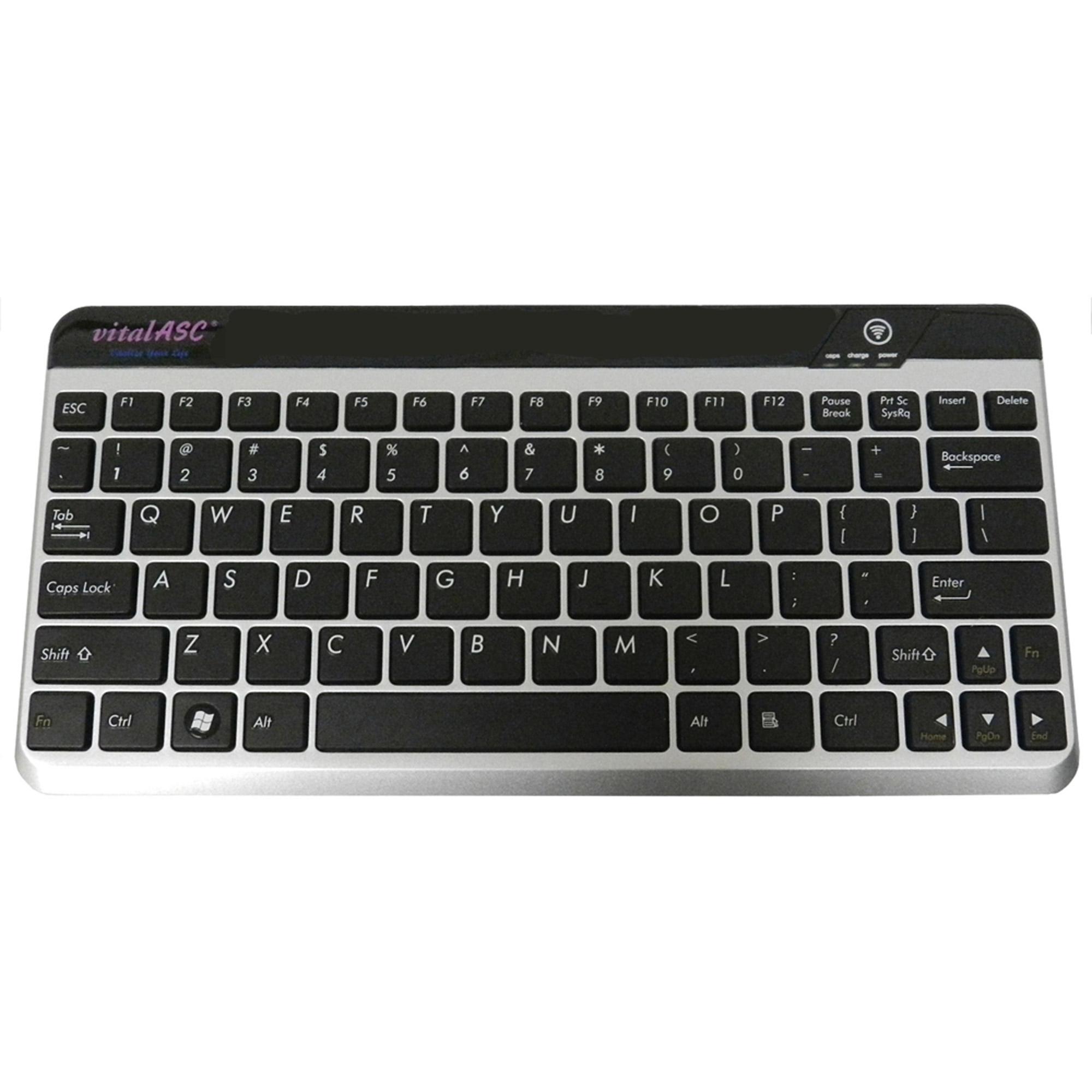 vitalASC Ultra-Slim Rechargeable Bluetooth Keyboard, Silver