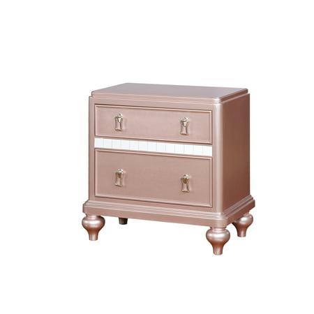 Furniture of America Cresenda Rose Gold Mirror Trim Nightstand ()