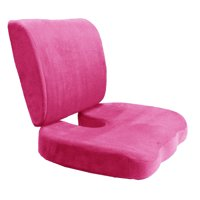 Memory Foam Back Lumbar & Coccyx Support Pillows Two Piece Set Sciatica & Pain Relief Seat Chair or Car Cushion Hot Pink