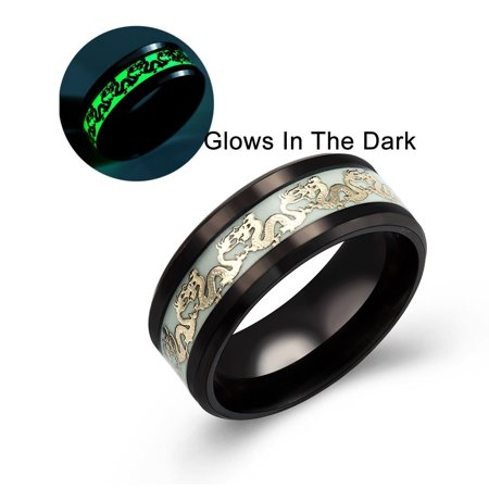 Dragon Glow in the Dark Stainless Steel Black Comfort Fit Band Ring Ginger Lyne Collection