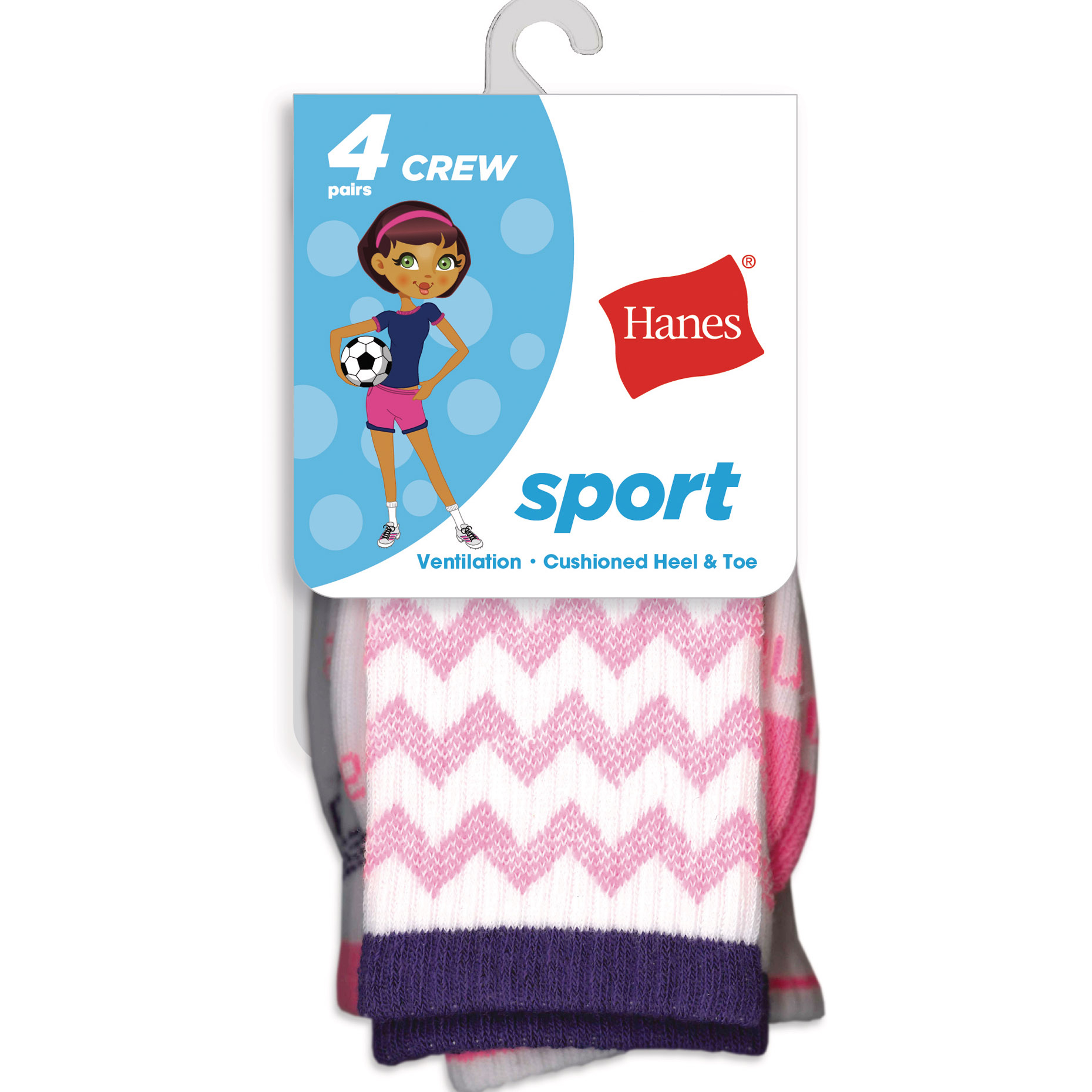 Hanes Girls' Sport Crew Socks, 4 Pack