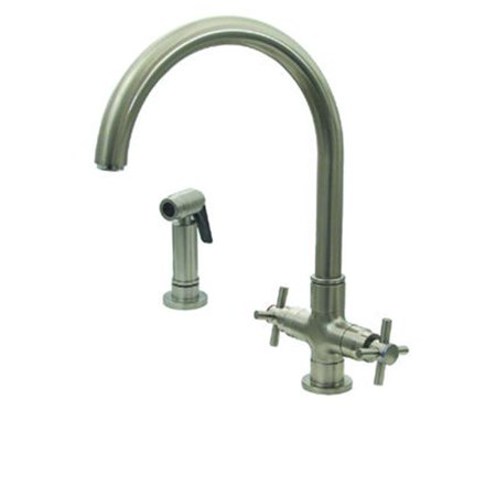 - 3-03954CH85-PC 10.25 in. Luxe Plus dual handle faucet with gooseneck swivel spout, cross style handles and solid brass side spray- Polished Chrome