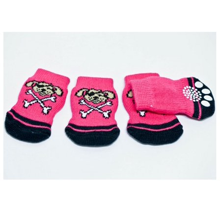 4pcs Cute Pink Black Pirate Dog Anti-Slip Dog Socks Clean Comfy Paws Puppy Cat - Cute Pirate