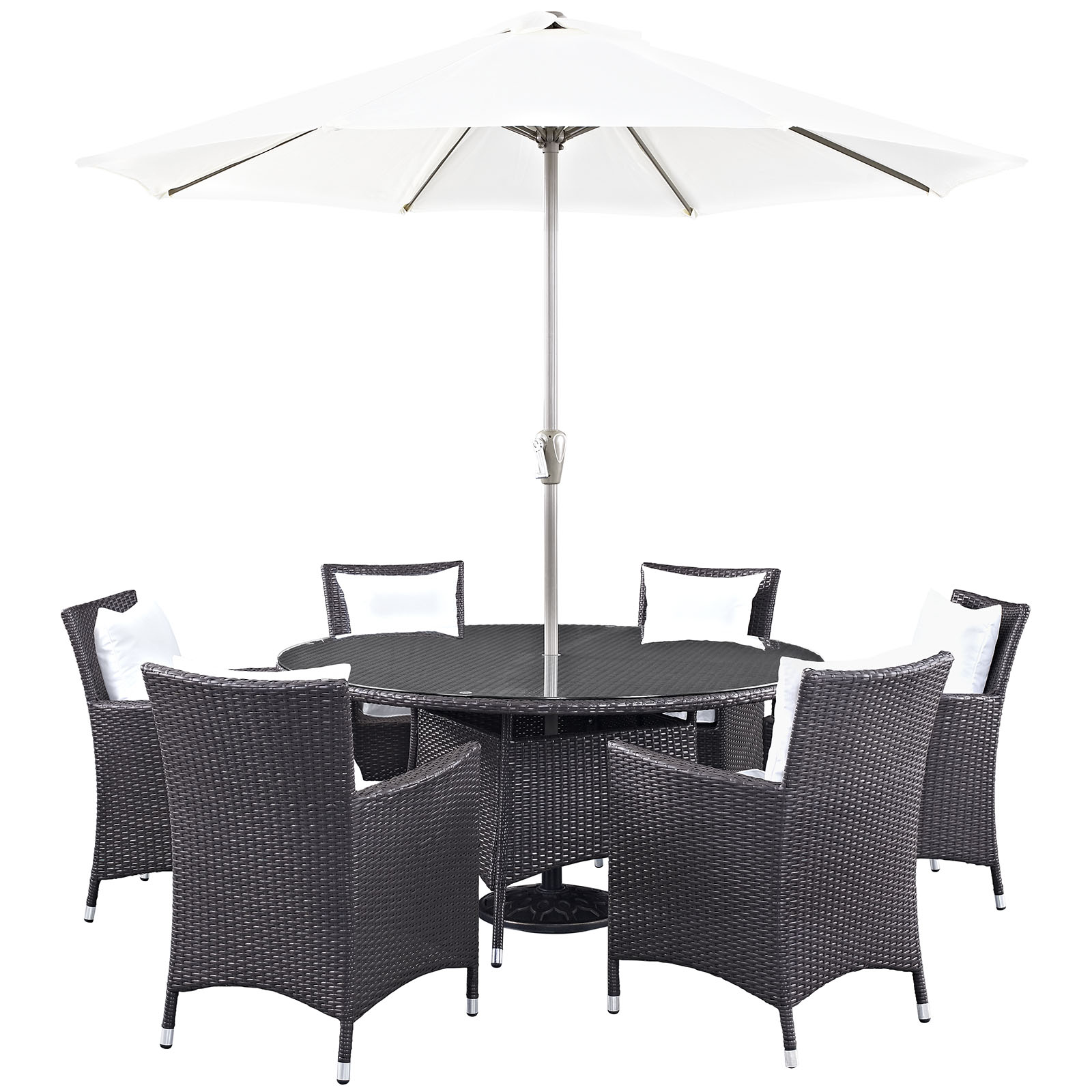Modern Contemporary Urban Design Outdoor Patio Balcony Eight PCS Dining Chairs and Table Set, White, Rattan