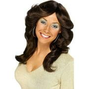 70's Flick Adult Costume Long Brown Wig