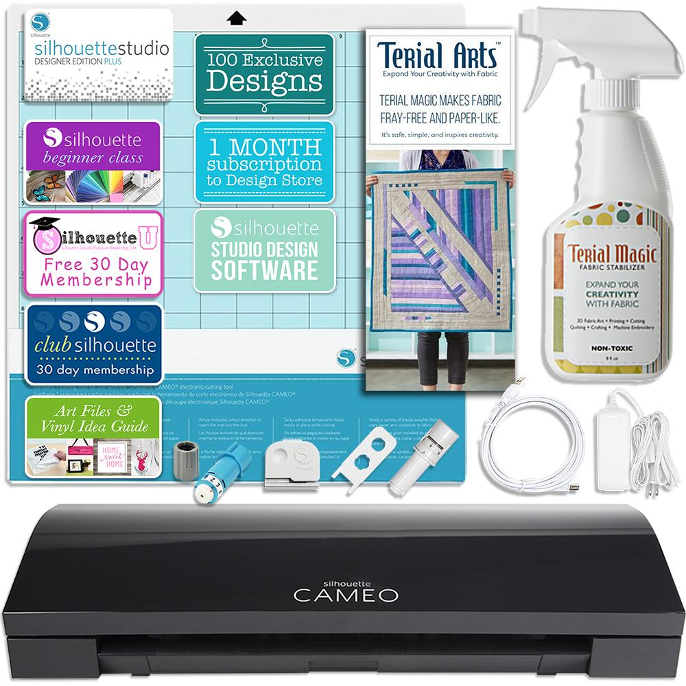 Silhouette Black Cameo 3 Bluetooth Fabric Applique Bundle for Embroidery Machines with Terial Magic