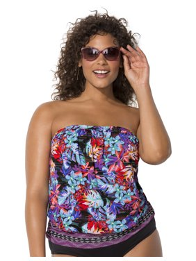 Swimsuits For All Women's Plus Size Bandeau Blouson Tankini Top
