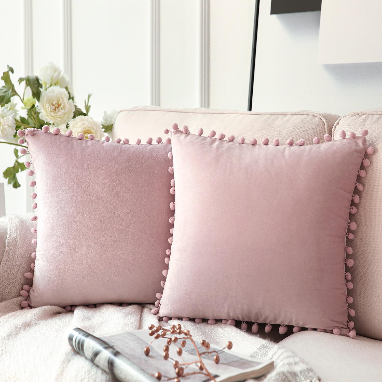 Phantoscope Pom Pom Velvet Series Decorative Throw Pillow, 112