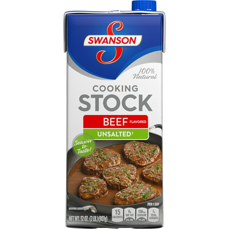 (3 Cartons) Swanson Unsalted Beef Flavored Cooking Stock, 32 - Savory Beef Flavor