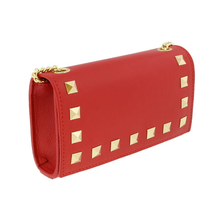 Scheilan  Red Leather Studded Mini Crossbody/Shoulder Bag Red Studded Leather