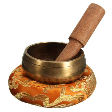 3pc/ Set Buddhist Hammered Singing Bowl+ Wooden Hand Hammer + Mat For Tibetan Meditation