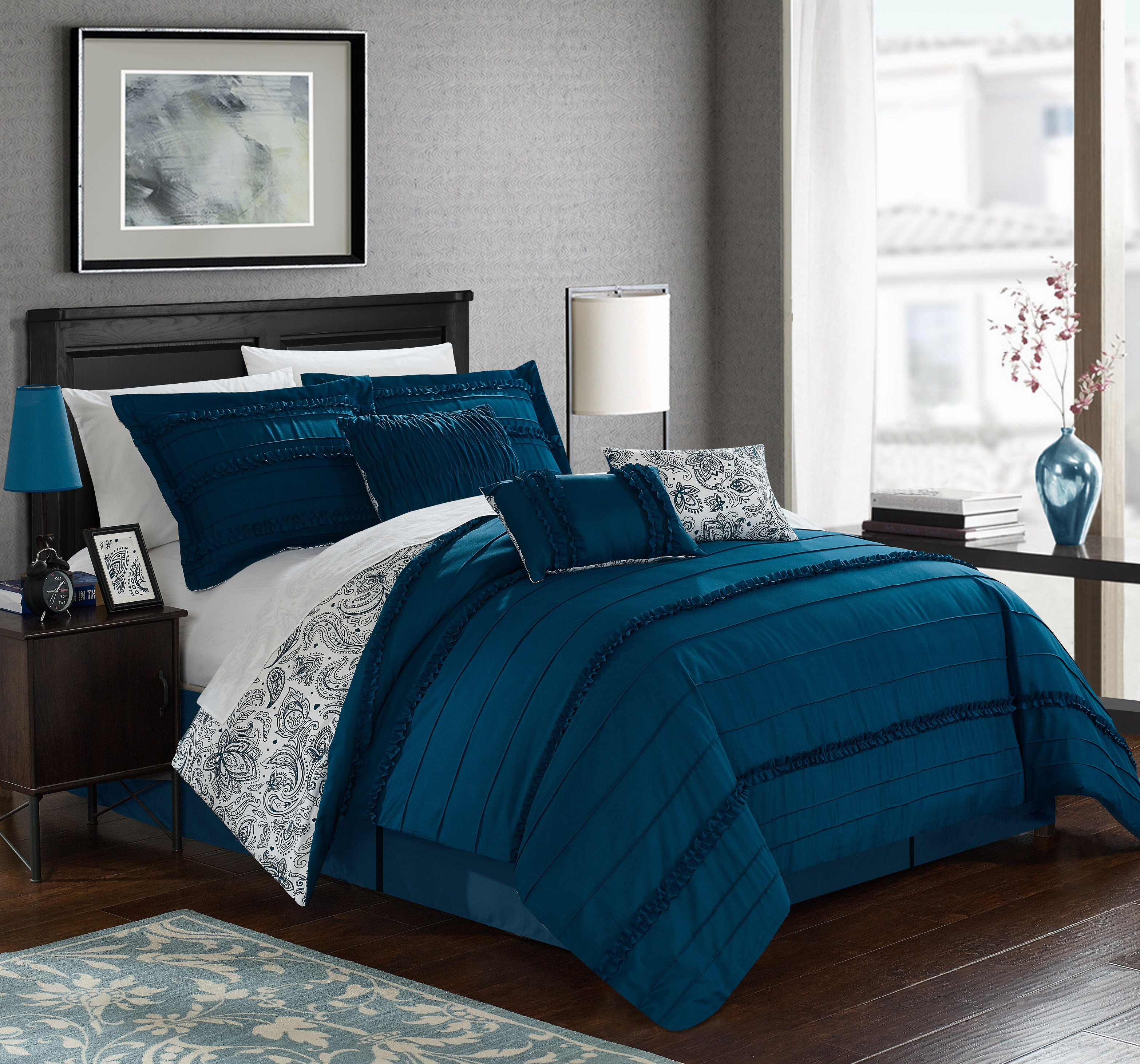 Chic Home 7-Piece Maeve Pleated and Ruffled REVERSIBLE Paisley Floral Print King Comforter Set Navy Shams and Decorative Pillows included