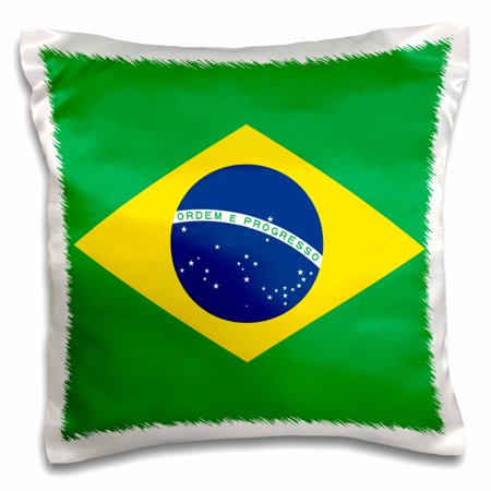 3dRose Flag of Brazil - Bandeira do Brasil - Brazilian green yellow rhombus with dark blue circle 27 stars - Pillow Case, 16 by 16-inch - Navy Blue Circle