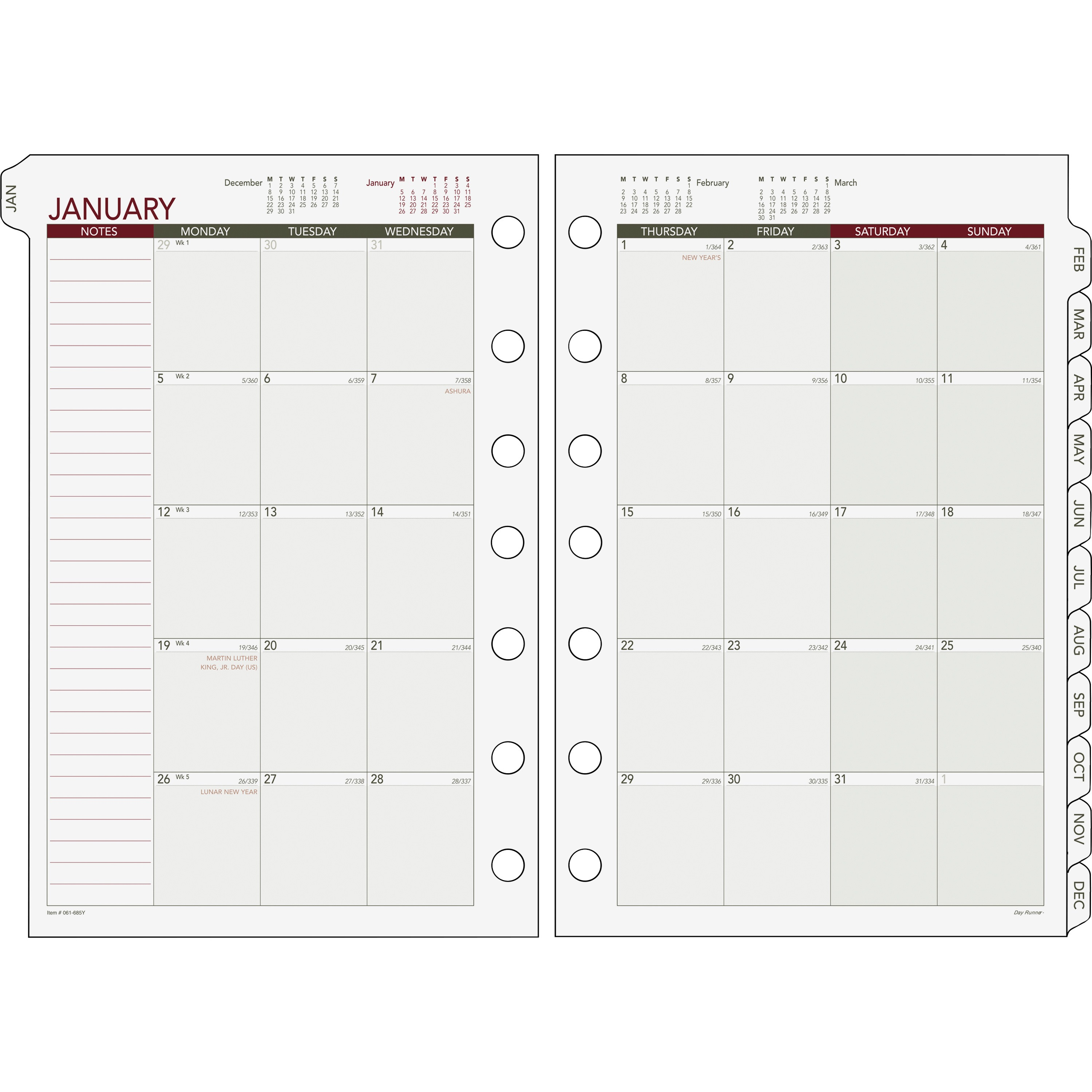 Day Runner Loose-leaf Monthly Planner Refills by ACCO Brands Corporation