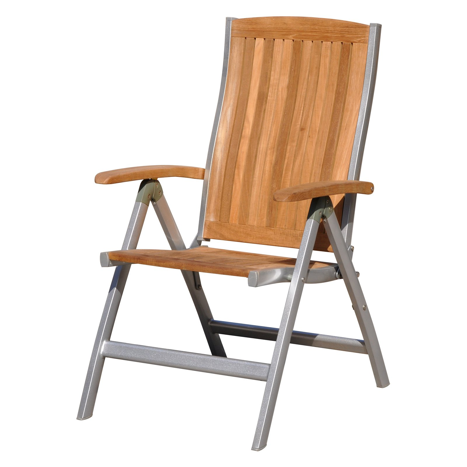 Courtyard Casual Natural Finish Burma Teak and Aluminum Outdoor Chair by Courtyard Casual
