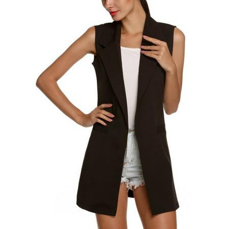 Women Open Front Sleeveless Long Vest Cardigan Coat Blazer Office Work Jacket