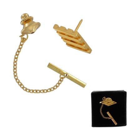 Men's Gold Tone Lattice Diamond Shape Tie Tac Tack Pin Gift Boxed