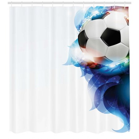 Soccer Shower Curtain Ball Surrounded By Art Graphic Vivid Petals Football Game Theme Fabric Bathroom Set With Hooks Dark Blue White Black