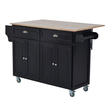 HOMCOM Rolling Kitchen Island Storage Cart w/ Drop Leaf Top - Black
