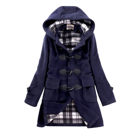 SGG Woolen Coat Hooded Winter Horn Button Trench Coat Women XL Blue