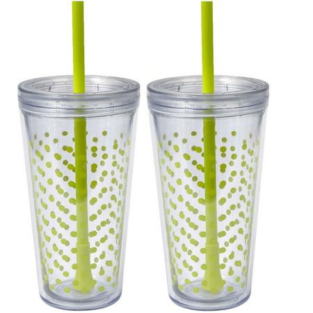 Dot Polka Dot Tumbler (Copco Set of 2 Minimus Lime Dot Print Tumblers with Straws )
