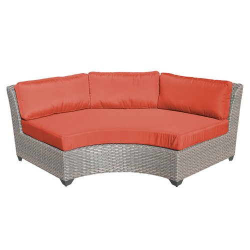 TK Classics Florence Curved Outdoor Middle Chair with 2 Sets of Cushion Covers