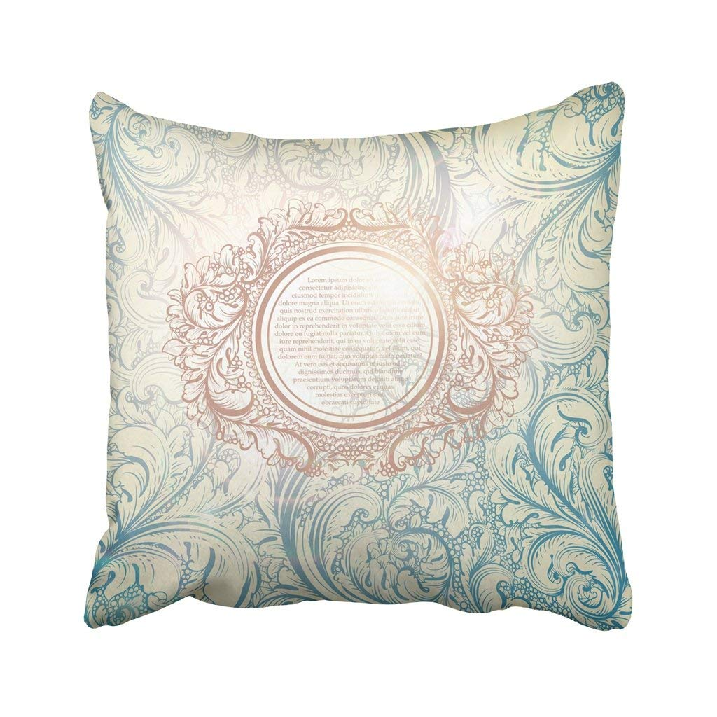 WOPOP Blue French Classical With Flower Pattern And Tea Border Floral Paris Rose Vintage Label Pillowcase 18x18 inch