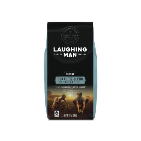 Laughing Man Dukale's Blend Ground Coffee, Fair Trade Certified, Medium Roast, Bagged 12oz