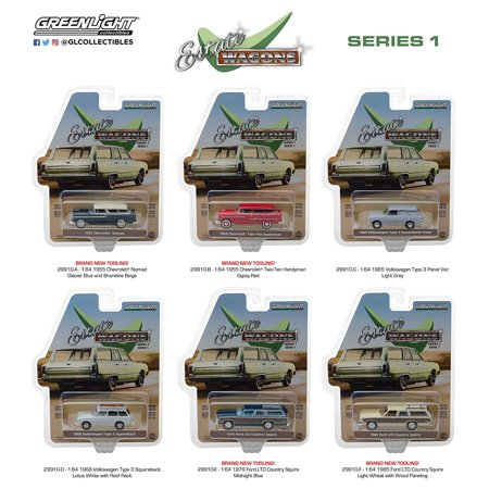 Greenlight Estate Wagon Series 1 Set of 6 Diecast Cars Assortment (29910) 1/64 Scale